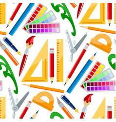 Creativity school supplies seamless pattern vector