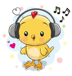 Cute cartoon chicken with headphones vector
