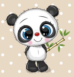 Cute cartoon panda with bamboo isolated on a vector