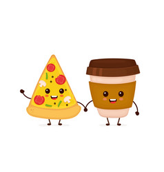cute funny smiling happy pizza vector image