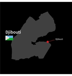 Detailed map of Djibouti and capital city Djibouti vector