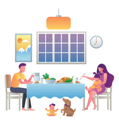 family eating at home vector image