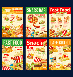 Fast food snacks burgers and hot dogs vector