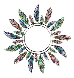 feathers circle frame vector image