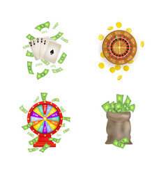 Flat casino gambling symbols set vector