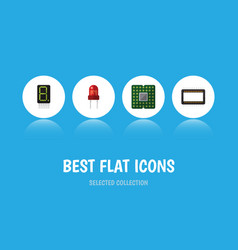 Flat icon device set of unit display recipient vector