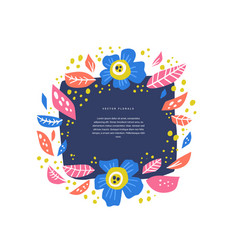 Floral circle with text space handdrawn layout vector