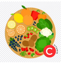Foods containing vitamin c on wooden kitchen board vector