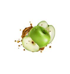 Fresh green apples and a splash fruit juice vector