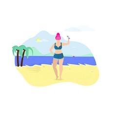 Girl exercising with dumbbells on seaside beach vector