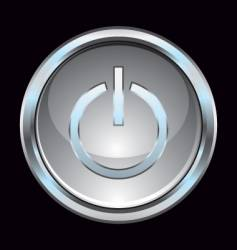 Glass chrome power switch button vector