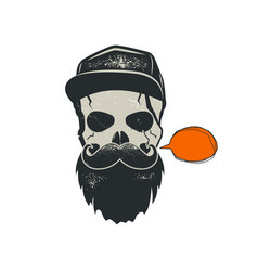 Grunge hipster skull emblem with quote bubble cap vector