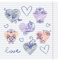 hand-drawn love doodles in sketchbook vector image
