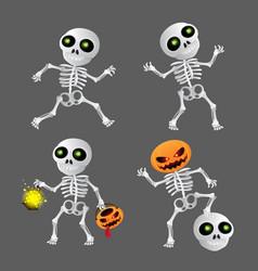 happy cartoon skeleton set to happy halloween on vector image