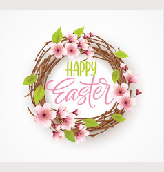 happy easter greeting background with wreath with vector image