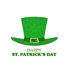 happy patricks day leprechaun hat with clover vector image