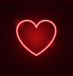Heart neon sign vector