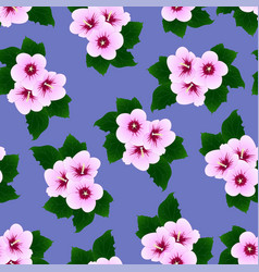 hibiscus syriacus - rose of sharon on purple vector image