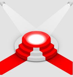 illuminated round podium isometric vector image