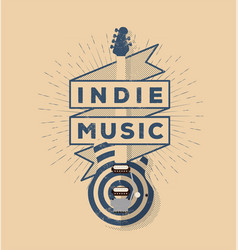 indie rock music vintage styled badge vector image