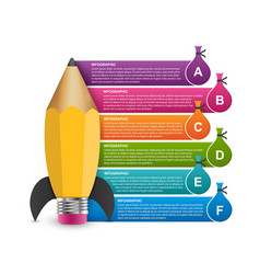 Infographic design template rocket a pencil vector
