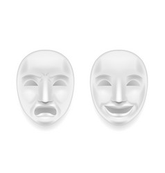 Isolated theatrical face mask sadness joy white vector