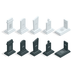 isometric set tombstones in cemetery isolated vector image