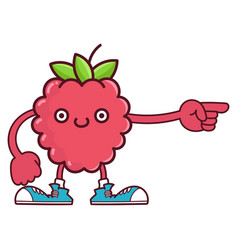 Kawaii smiling raspberry fruit with sneakers vector