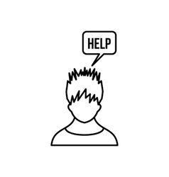 Man needs help icon outline style vector image