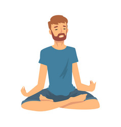 Man safe balance with meditation relaxation vector