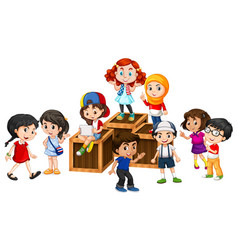 Many happy children on the wooden boxes vector