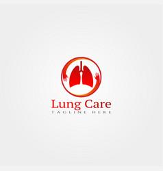 Medical icon templatelung care logocreative design vector