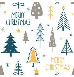 merry christmas seamless pattern with simple minim vector image