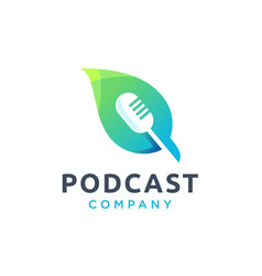 Microphone and leaf podcast logo design vector
