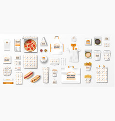 mockup for pizzeria cafe fast food restaurant vector image