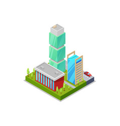 modern urban quarter isometric 3d icon vector image