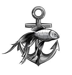 monochromatic - gold fish anchor aquarium vector image