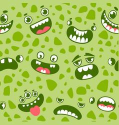 monster faces seamless pattern cartoon halloween vector image