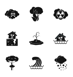 Natural emergency icons set simple style vector