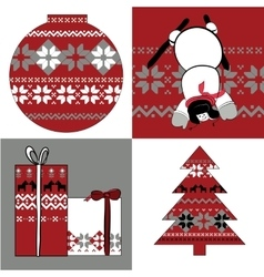 nordic set of round presents snowman and spruce vector image