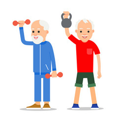 older men perform exercises to weight lifting vector image