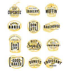 pastry and bakery shop sketch with hand lettering vector image