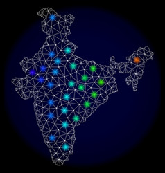 Polygonal carcass mesh map of india with bright vector