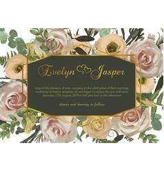 polygonal gold frame pink rose flowers eustoma vector image
