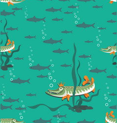 Queen pike and fish in the pond vector