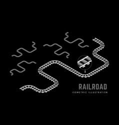 railway isometric 3d on a black vector image