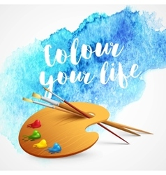 Realistic brush and palette on blue watercolor vector image