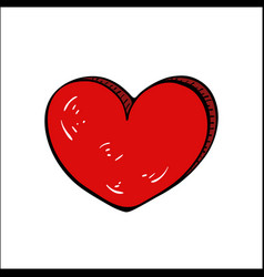 red heart free drawing-cartoon valentines day vector image
