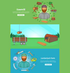 sawmil and timber banner set template cartoon vector image