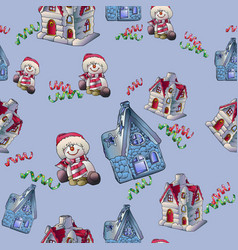 Seamless background with snowmen fairy houses vector